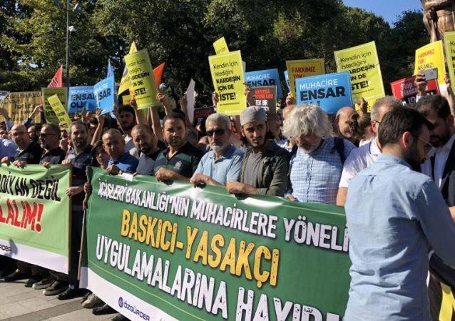 احتجاجات في تركيا ضد ترحيل السوريين