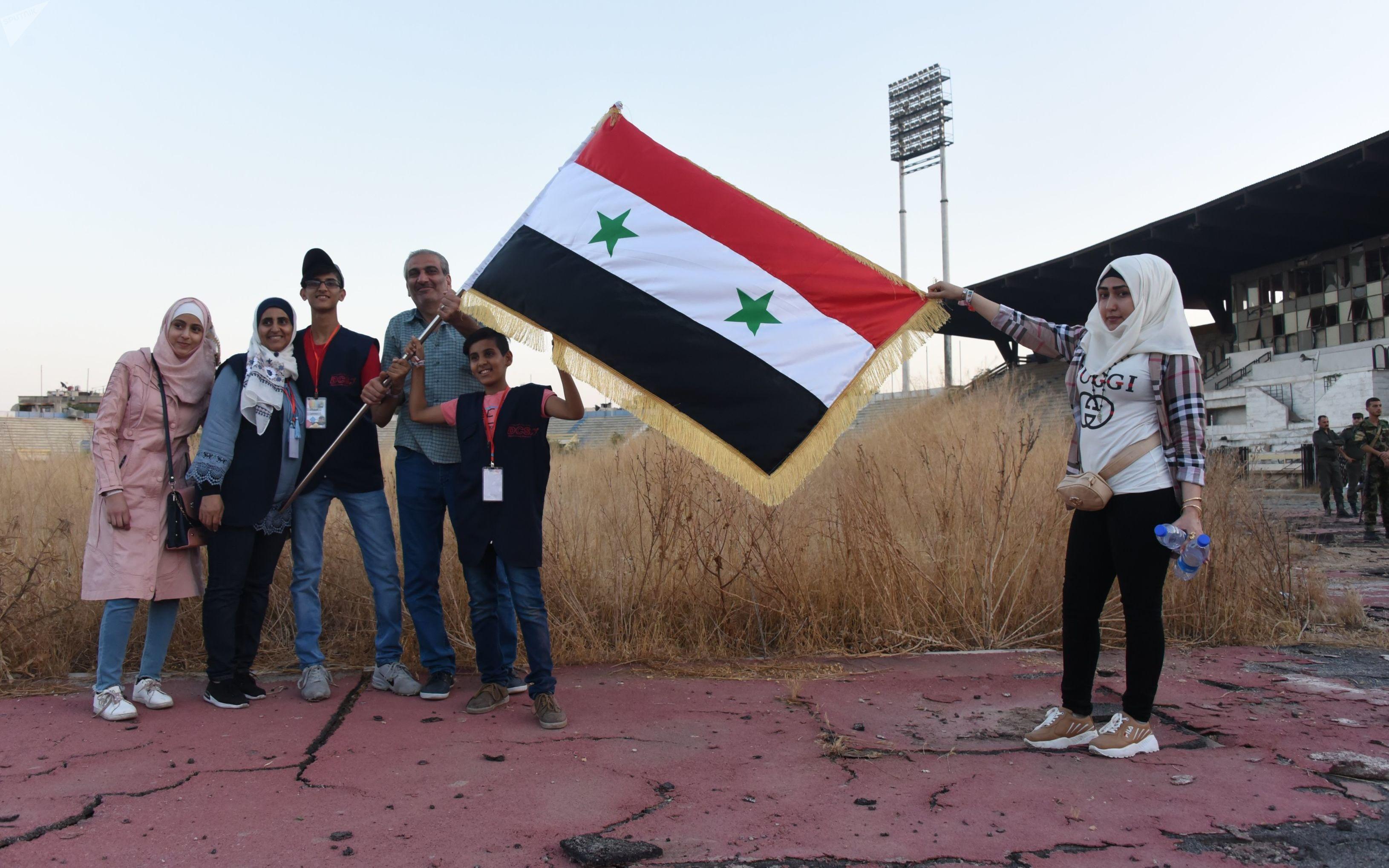 Альт: ذوو الاحتياجات الخاصة يحتفون باستعادة قلعة الذاكرة الرياضية لسوريا وأعرق ملاعبها