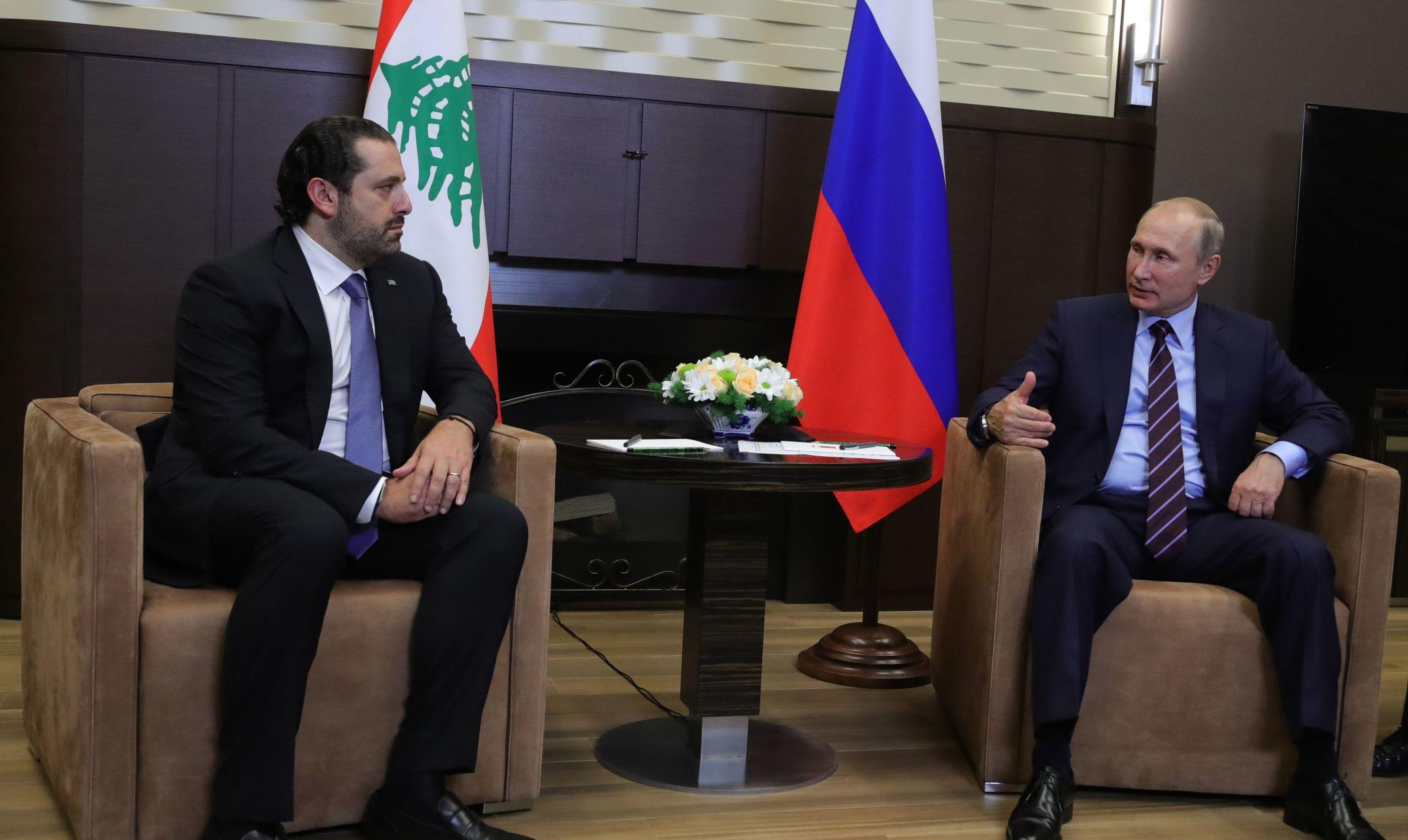 لقاء رئيس الحكومة اللبنانية سعد الحريري ورئيس روسيا فلاديمير بوتين