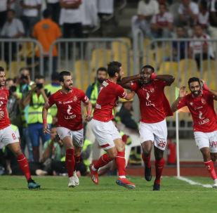 لاعبو الأهلي يحتفلون بهدفهم في الزمالك، مباراة كأس السوبر المصري، 20 سبتمبر/أيلول 2019