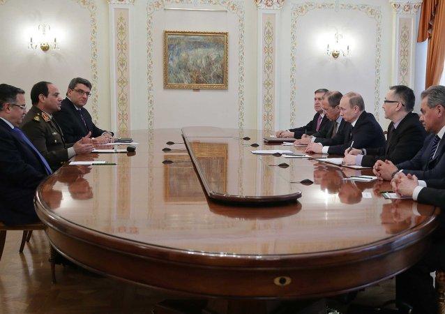 إجتماع فلاديمير بوتين و عبد الفتاح السيسي