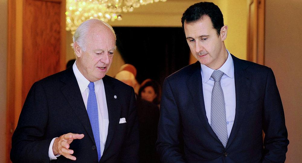 بشار الأسد وستيفان دي ميستورا
