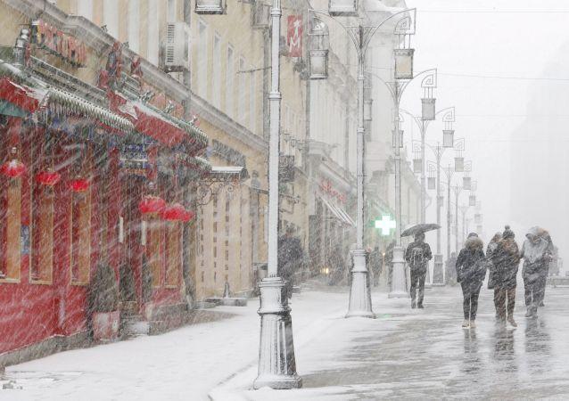 عاصفة ثلجية في موسكو، آذار 2015