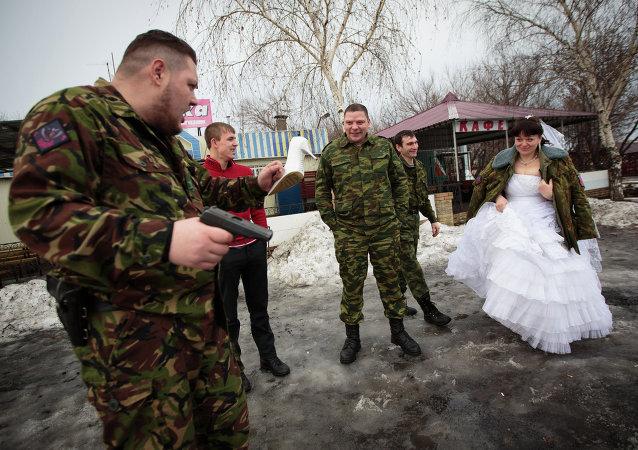 حفل زفاف في جمهورية لوغانسك في ظروف الحرب