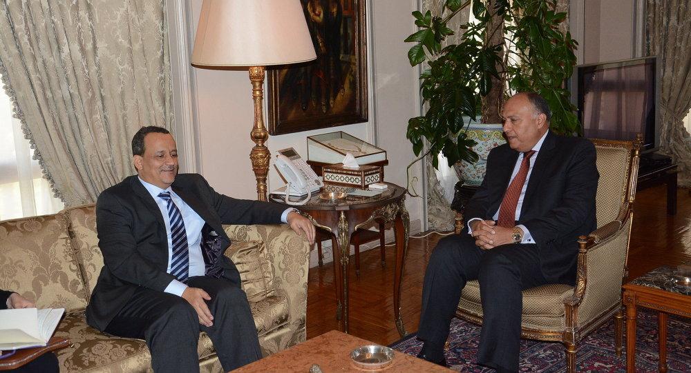 وزير الخارجية سامح شكري والمبعوث الأممي إلى اليمن  اسماعيل ولد الشيخ