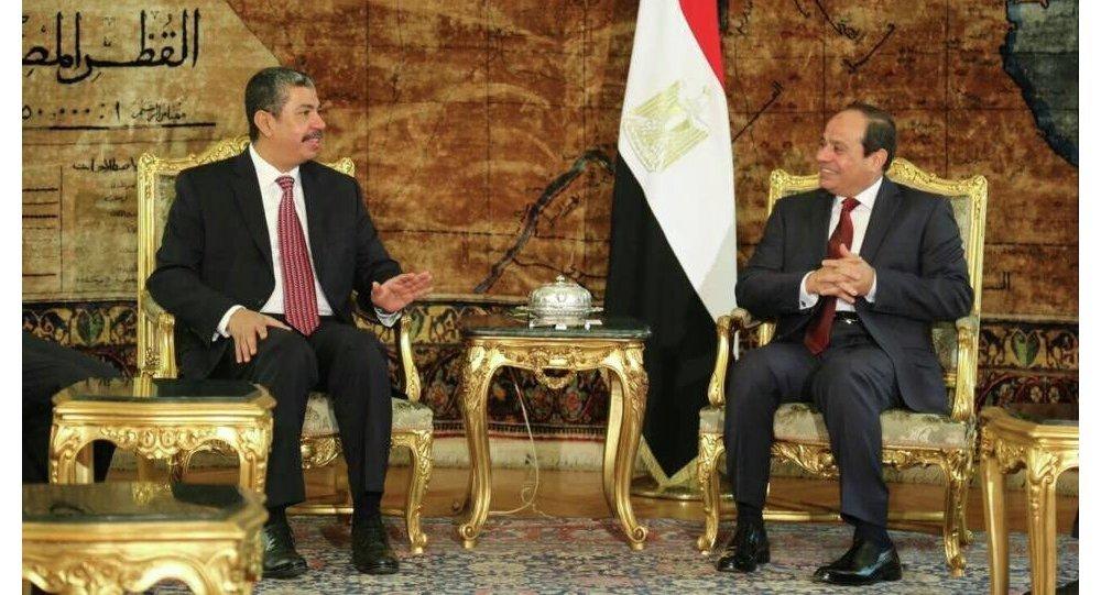 لقاء نائب الرئيس اليمني خالد بحاح مع الرئيس المصري عبد الفتاح السيسي