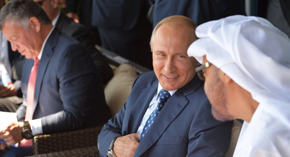 الرئيس بوتين يحضر حفل افتتاح معرض ماكس 2015 برفقة ملك الأردن وولي عهد أبوظبي