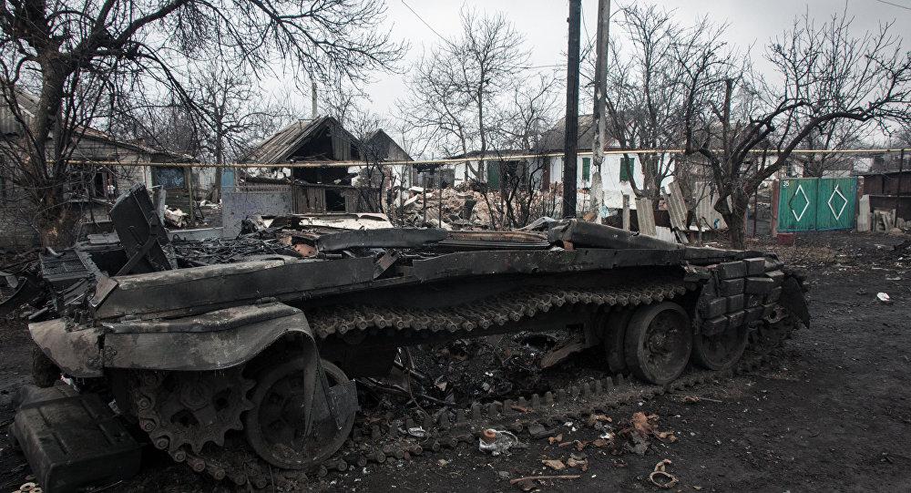 دبابة أوكرانية مدمرة