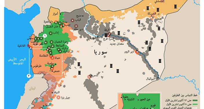 خريطة الضربات الجوية الروسية ضد مواقع داعش الإرهابي في سوريا