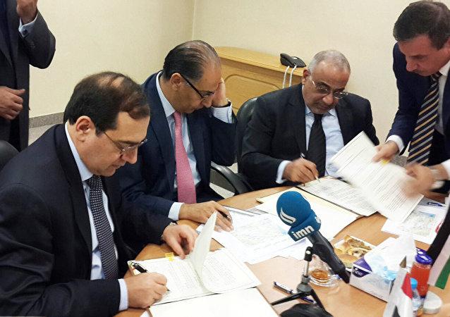 وزراء بترول مصر والاردن و العراق