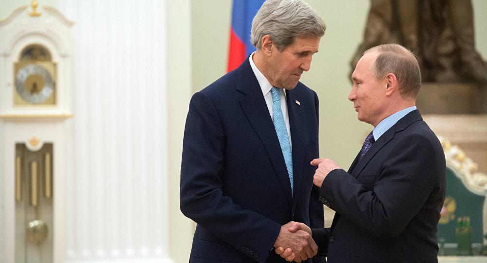 لقاء بوتين وكيري