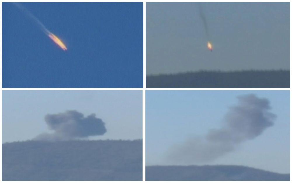 لحظة اسقاط الطائرة الروسية قرب الحدود التركية