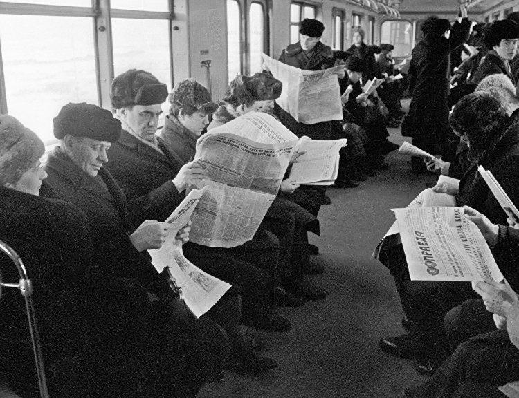 ركاب مترو الانفاق في موسكو