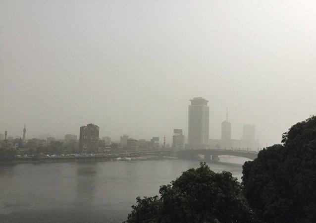 عاصفة ترابية فى القاهرة