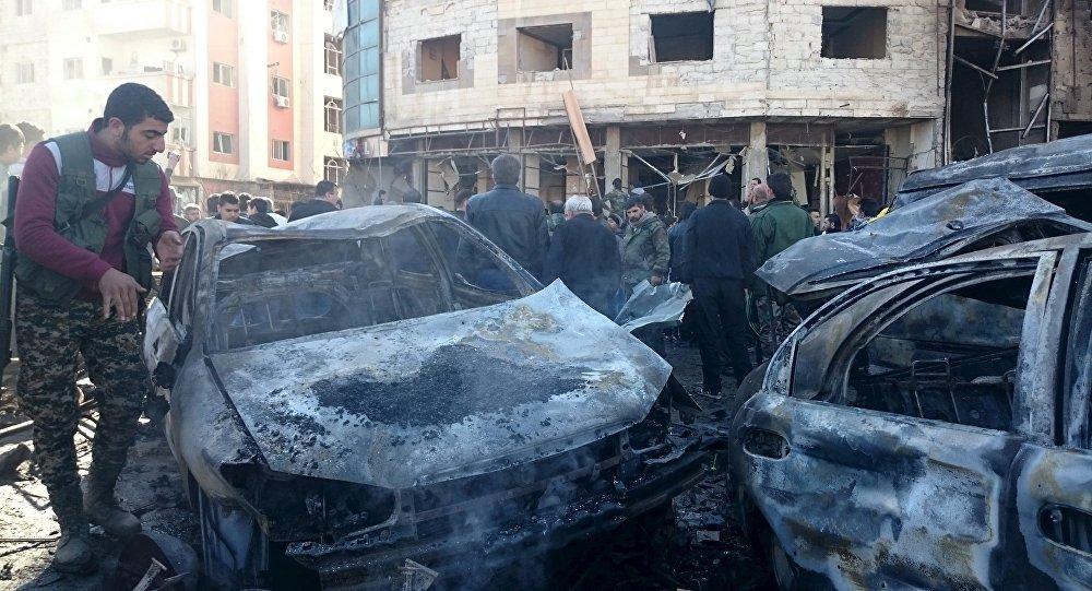 صورة أرشيفية لتفجير سيار مفخخة في حي السيدة زينب جنوب دمشق