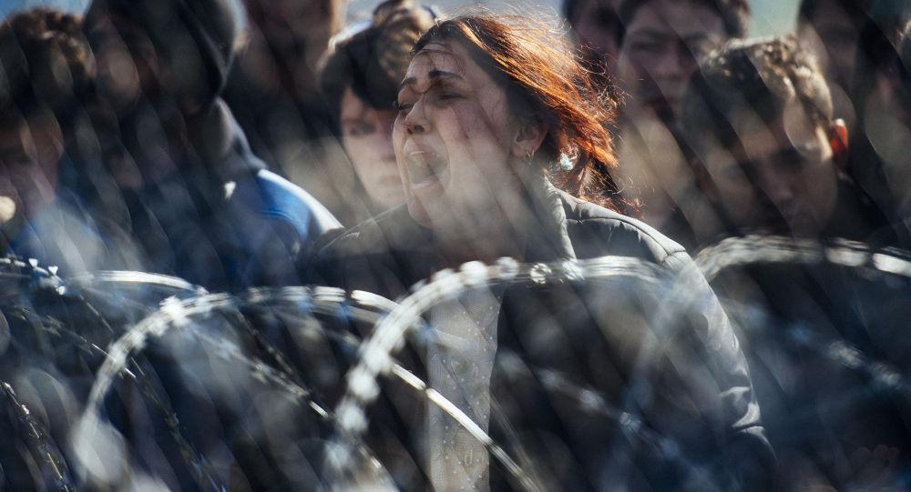 اللاجئون المحتجون على الحدود اليونانية-المقدونية، 2 مارس/ آذار 2016.
