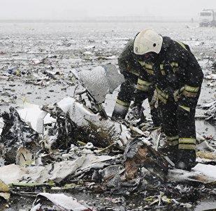 حطام الطائرة المنكوبة في مطار روستوف