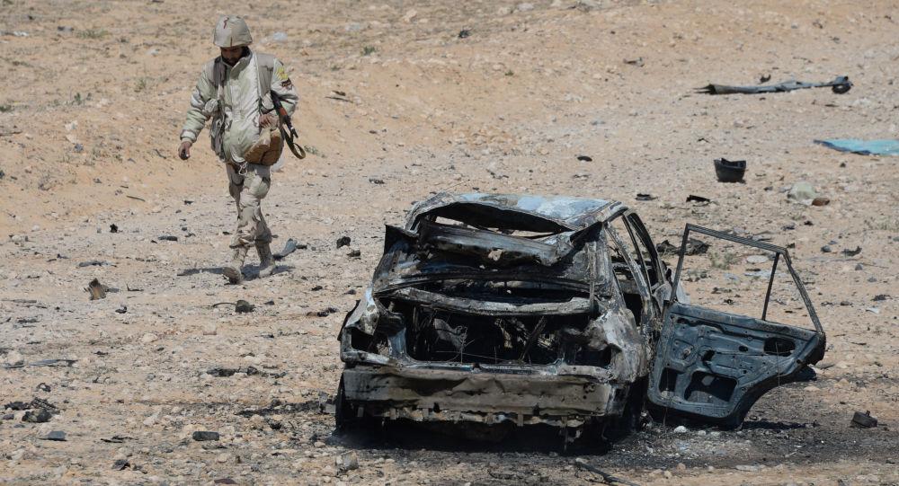 فرد من كتيبة صقور الصحراء في 10 كم غرب مدينة تدمر، سوريا.