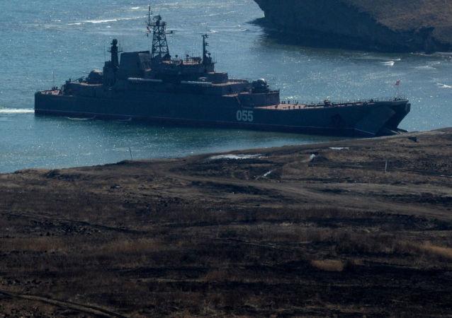 سفن إنزال كبيرة نيكولاي فيلكوف وأدميرال نيفيلسكي، حيث يتم إنزال مشاة البحرية الروسية خلال تدريبات أسطول المحيط الهادئ في إقليم بريمورسكي.