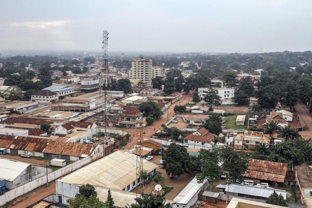 مشهد يطل على مدينة بانغوي من أعلى، جمهورية أفريقيا الوسطى.