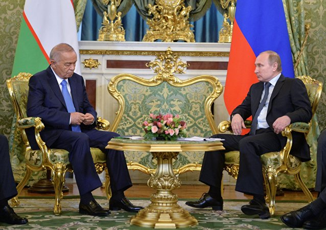 الرئيس الروسي فلاديمير بوتين في لقائه مع الرئيس الأوزبكستاني إسلام كريموف