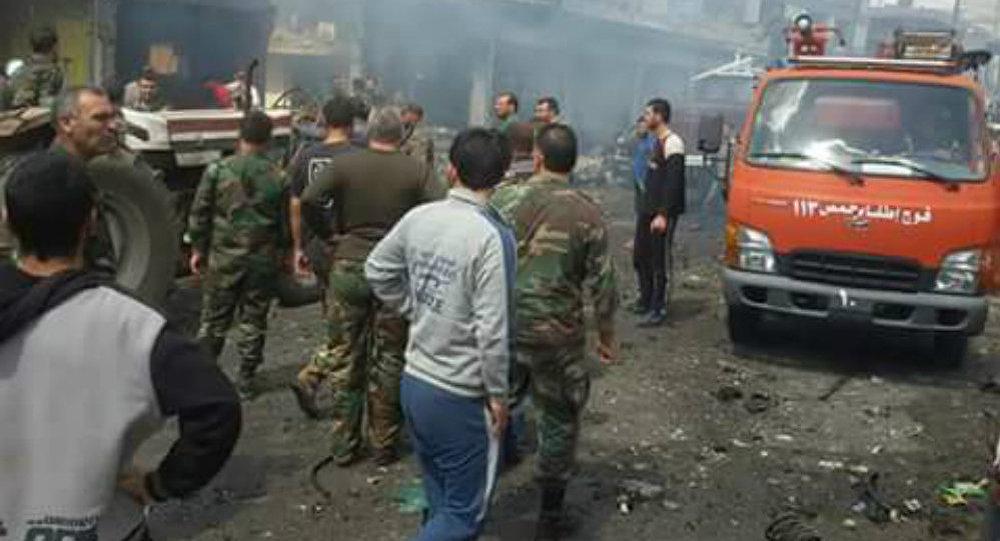 تفجير في ساحة الناحية بمدينة المخرم، حمص السورية