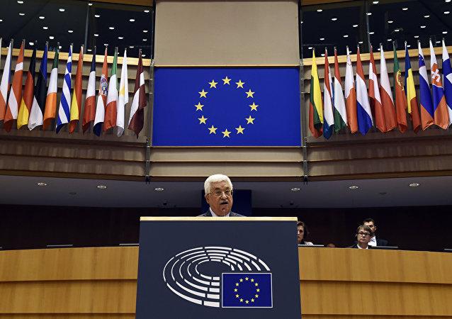 الرئيس عباس، في خطابه أمام البرلمان الأوروبي في بروكسل