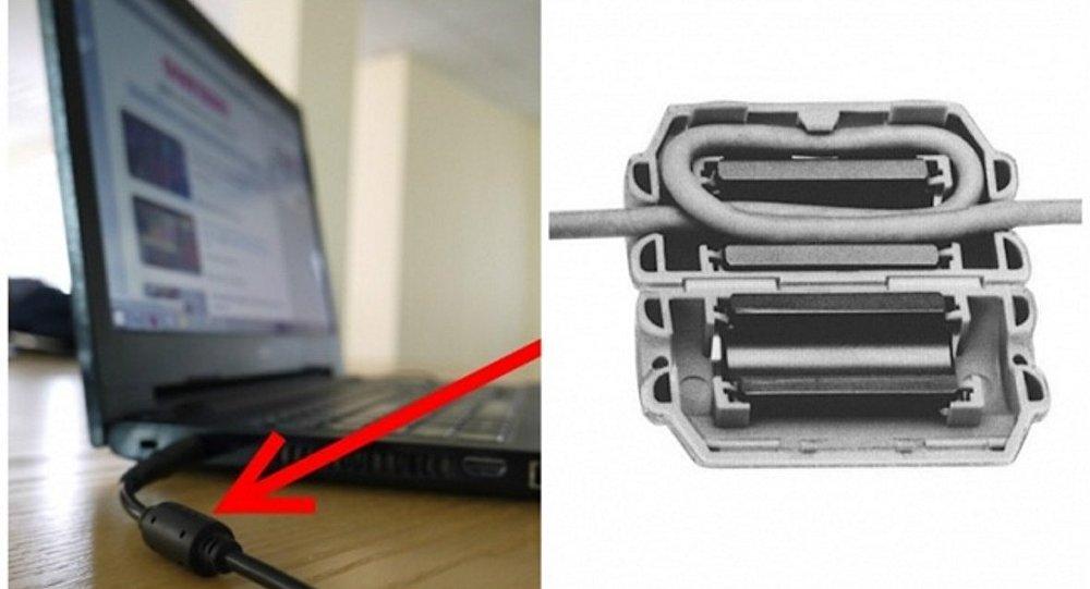 الشكل الأسطواني في كابل الطاقة للحاسوب المحمول