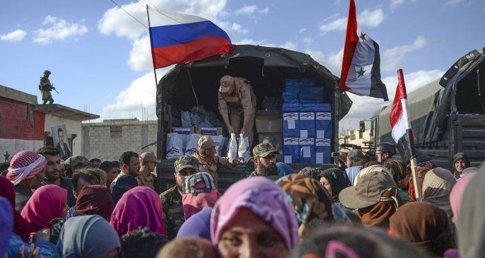 توزيع مواد إغاثية روسية في سوريا