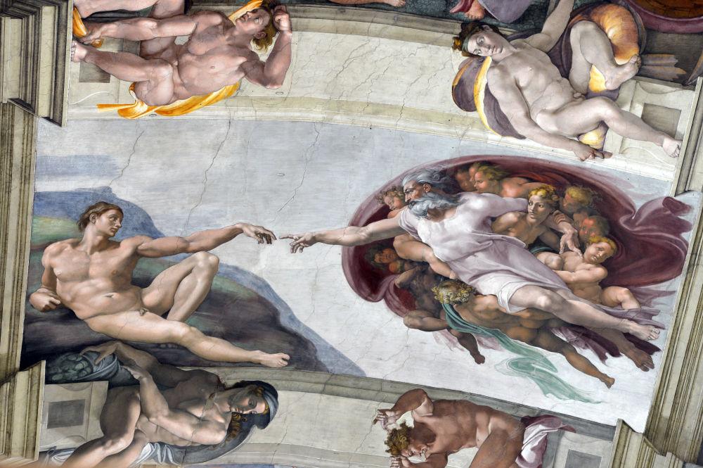 زخرفة سقف كنيسة سيستينا بالفاتيكان يعتبر من الأعمال الفنية الضخمة للفنان مايكل آنجلو قام برسمها بين 1508 و 1512 ويعتبر إحدى قمم فن عصر النهضة.