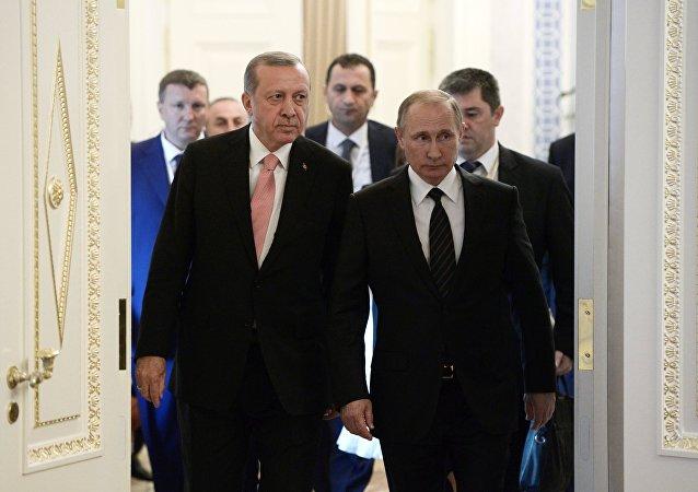 الرئيس فلاديمير بوتين والرئيس التركي رجب طيب أردوغان في سانت بطرسبورغ