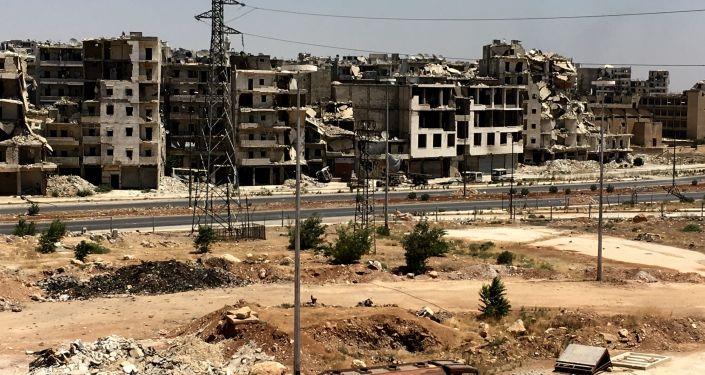 .منازل وبيوت مدمرة في حي راموسة بجنوب غرب مدينة حلب