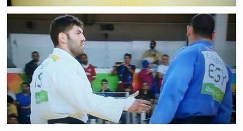 لاعب الجودو المصرى ومنافسه الإسرائيلى