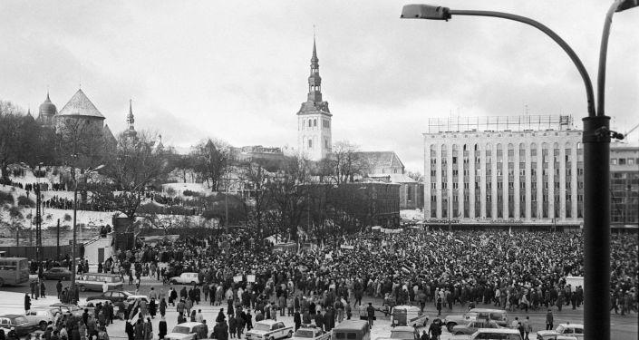 مظاهرة مناهضة للحكومة في تالين، إستونيا عام 1991