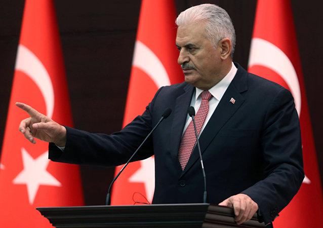 رئيس الوزراء التركي بن علي يلدريم في أنقرة