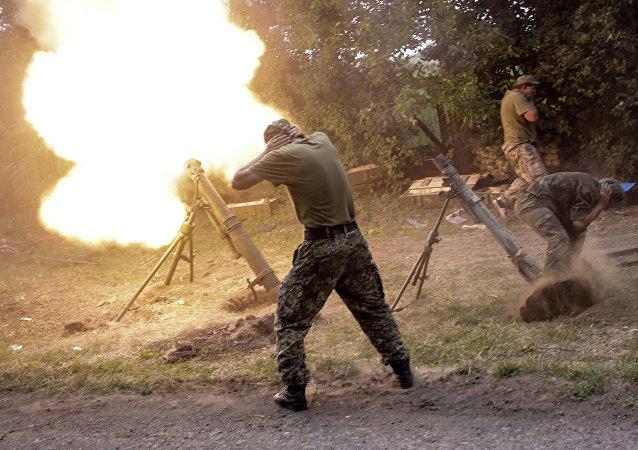 مدافع هاون تابعة للحماية الشعبية في دونباس