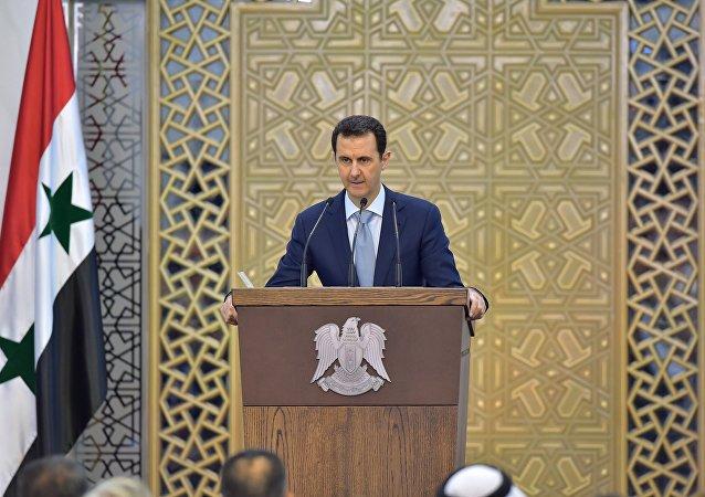 الرئيس السوري بشار الأسد خلال خطبة في دمشق، سوريا، 26 يوليو/ حزيران 2015