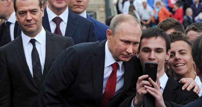 الرئيس الروسي فلاديمير بوتين أثناء فعالية الاحتفال بـ عيد المدينة (موسكو) على الساحة الحمراء في موسكو.