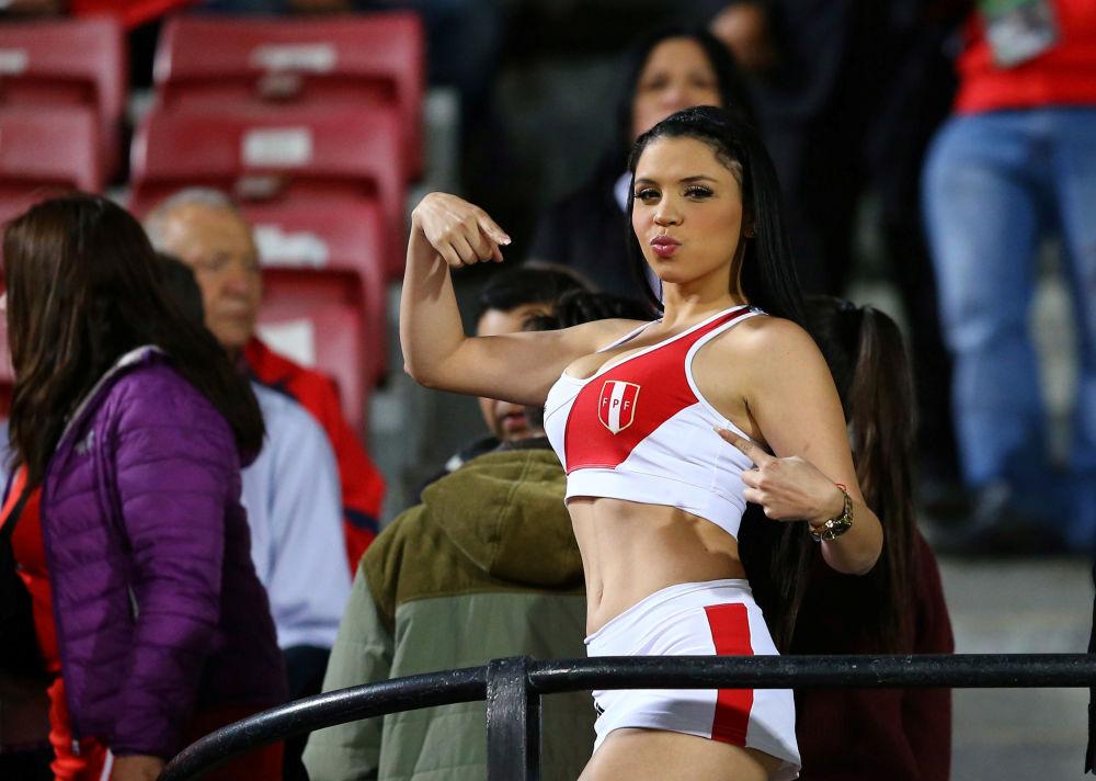 مشجعة لفريق كرة القدم (تشيلي ضد بيرو) ضمن مبارايات التأهل لكأس العالم 2018، تشيلي 11 أكتوبر/ تشرين الأول 2016