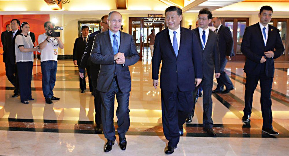 الرئيس الروسي فلاديمير بوتين والرئيس الصيني شي جين بينغ خلال قمة بريكس في الهند