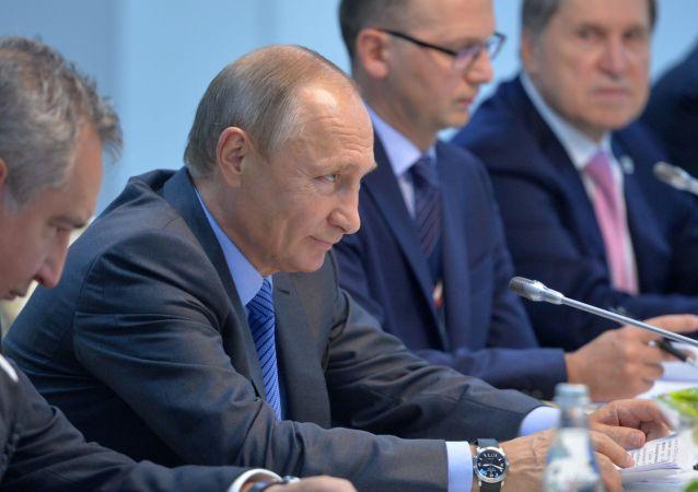 الرئيس الروسي فلاديمير بوتين ورئيس خلال قمة بريكس في الهند