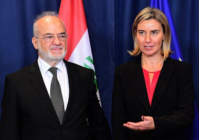 فيديريكا موغيريني ووزير الخارجية العراقي ابراهيم الجعفري
