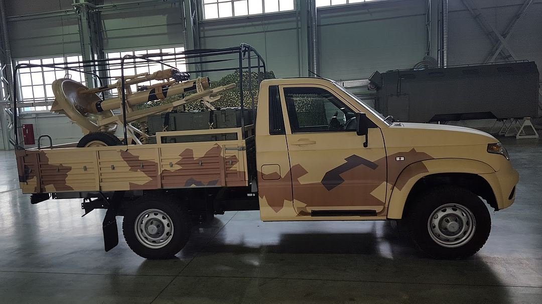 Military-use UAZ Patriot equipped with 2B11 mortar