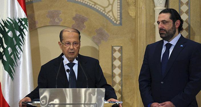 الرئيس اللبناني ميشال عون ورئيس تيار المستقبل سعد الحريري