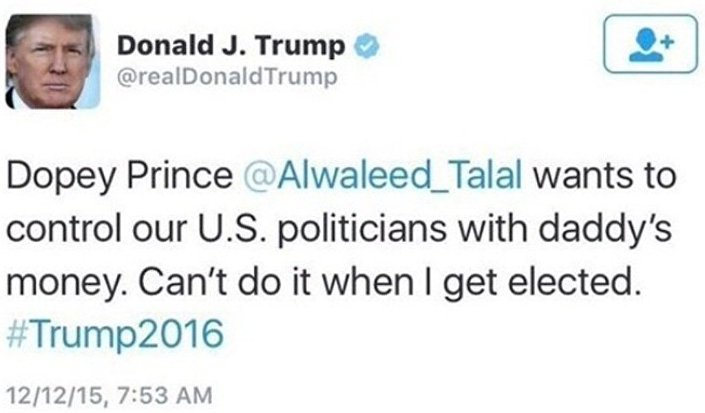 ترامب يتوعد الوليد بن طلال