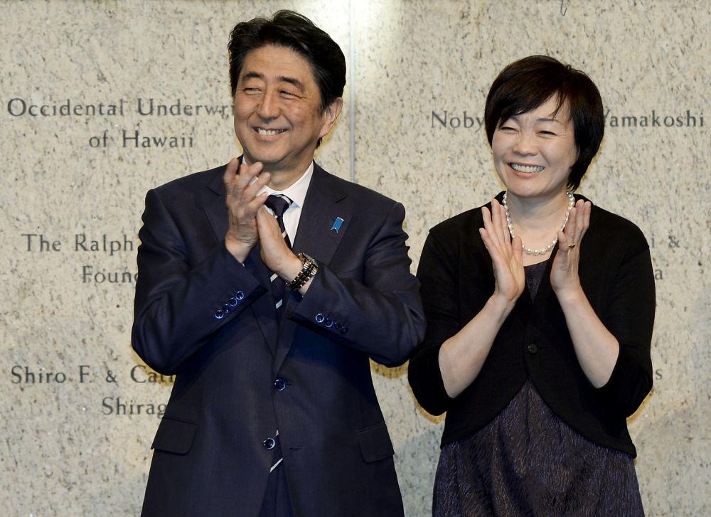 السيدة الأولى آكي آبي، وزجة رئيس الوزراء الياباني شيزو آبي، 2015