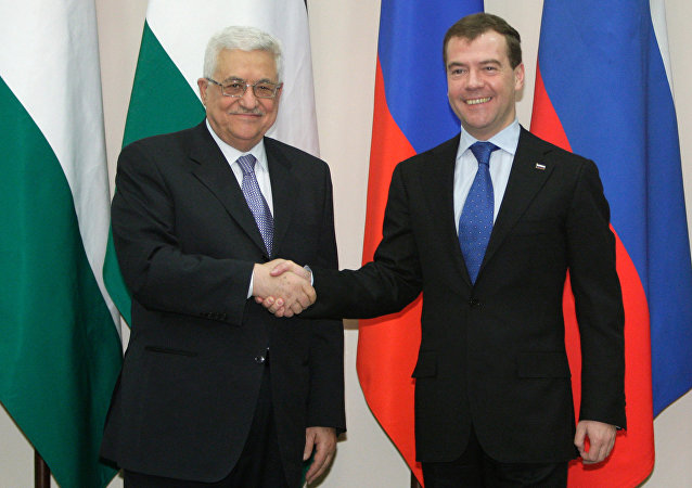 Dmitry Medvedev, Mahmoud Abbas (File)