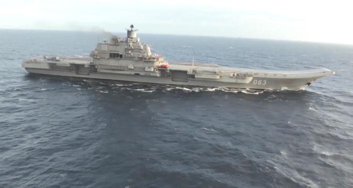 حاملة الطائرات الروسية الأميرال كوزنيتسوف عند الساحل السوري للبحر الأبيض المتوسط