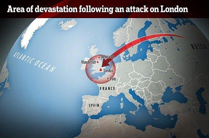 المنطقة التي يستطيع صاروخ الشيطان الروسي تدميرها
