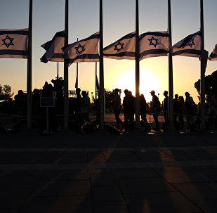 أعلام إسرائيل خارج مبنى الكنيست الإسرائيلي